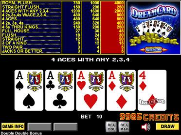 video poker dream card
